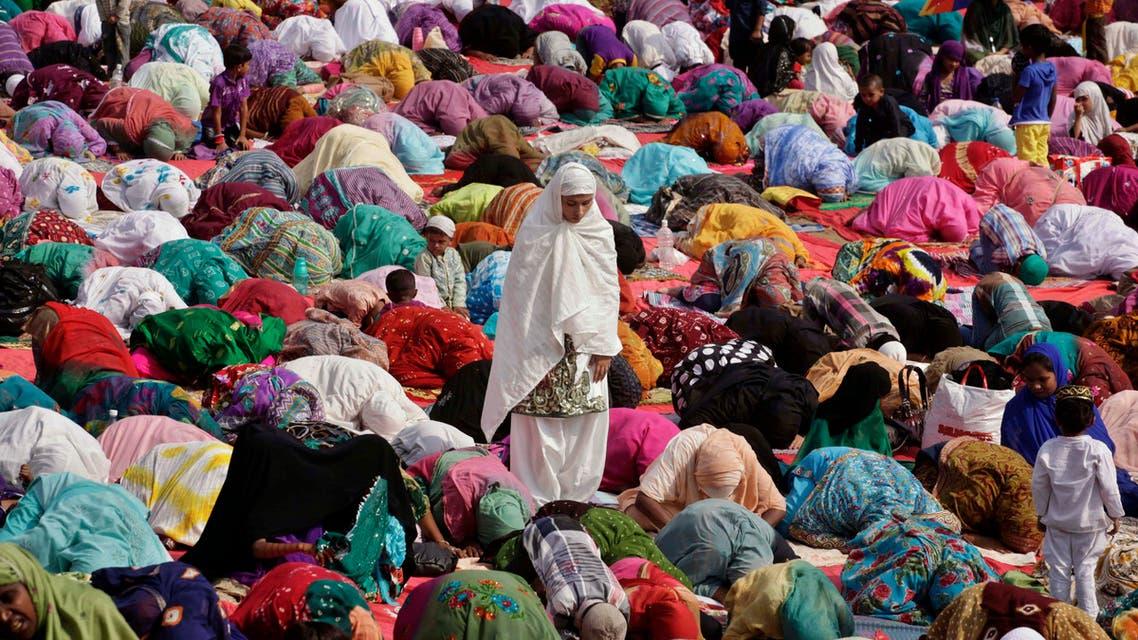 Indian Muslim women pray in Ahmadabad, India, on Oct. 15, 2013. (AP)