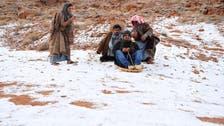 تبوک کی برف پر سعودی منچلوں کی موج مستیاں