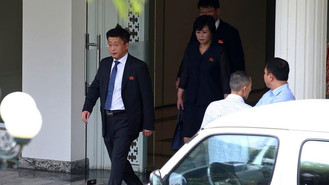 Kim Hyok Chol, left, North Korea's special representative for US affairs (AP)