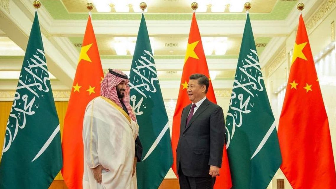 Saudi Crown Prince Mohammed bin Salman during talks Friday with President Xi Jinping in Beijing (supplied)