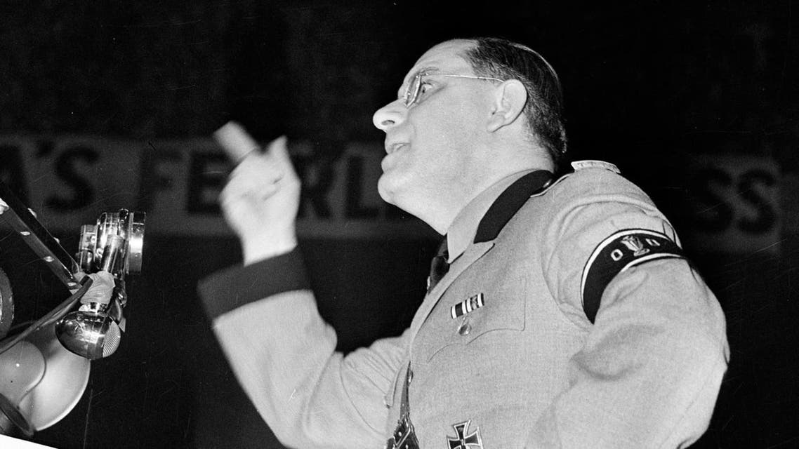 In this Feb. 20, 1939, file photo, Fritz Kuhn, leader of the German American Bund, speaks at a pro-Hitler rally at New York's Madison Square Garden. (AP)