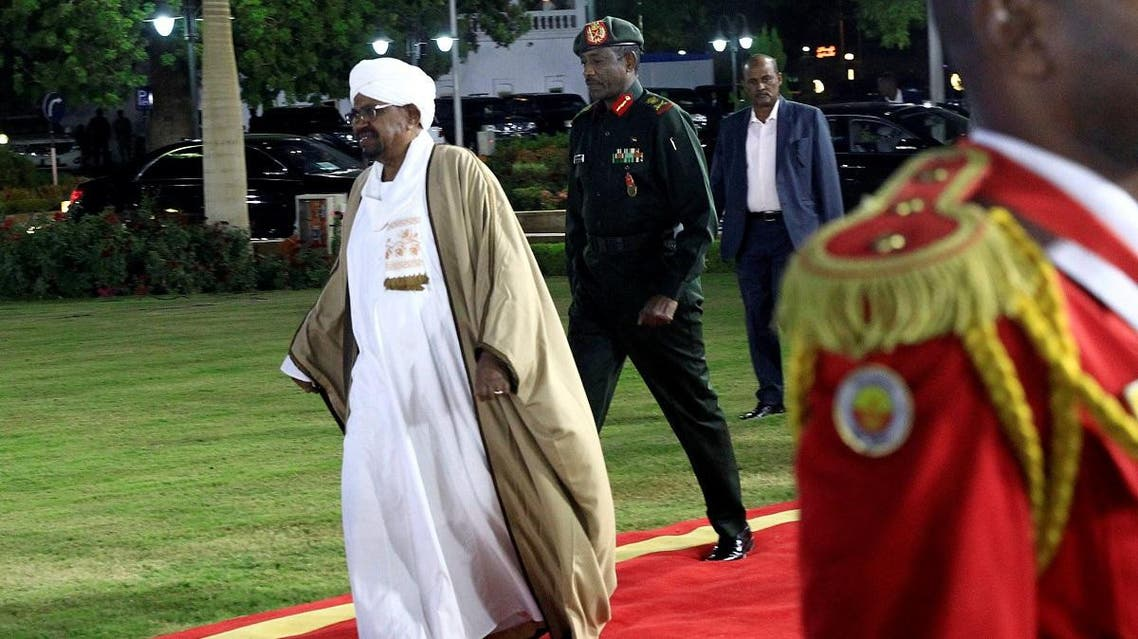Sudan's President Omar al-Bashir arrives before delivering a speech at the Presidential Palace in Khartoum. (Reuters)