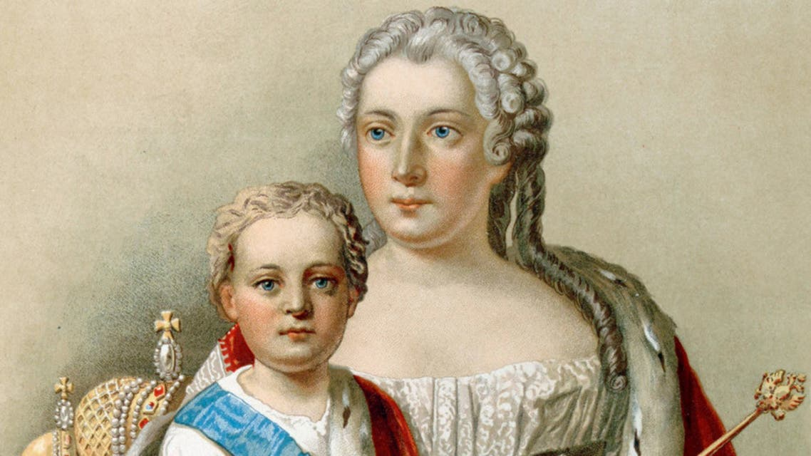 رسم تخيلي للإمبراطور الطفل إيفان السادس رفقة والدته