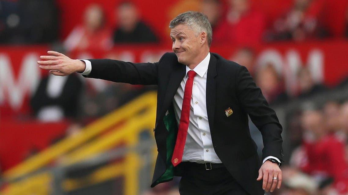 Manchester United interim manager Ole Gunnar Solskjaer gestures during a match. (Reuters)