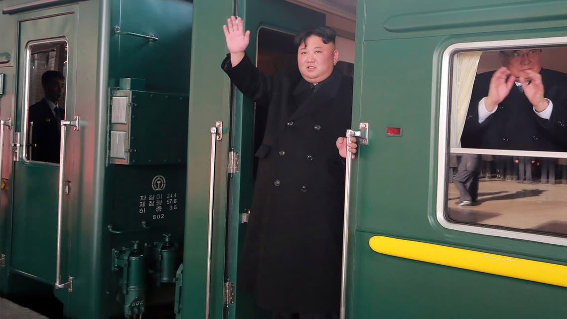 This picture taken on February 23, 2019 and released from North Korea's official Korean Central News Agency (KCNA) on February 24 shows North Korean leader Kim Jong Un (C) departing Pyongyang Station for the second North Korea-US summit meeting in Hanoi, Vietnam.