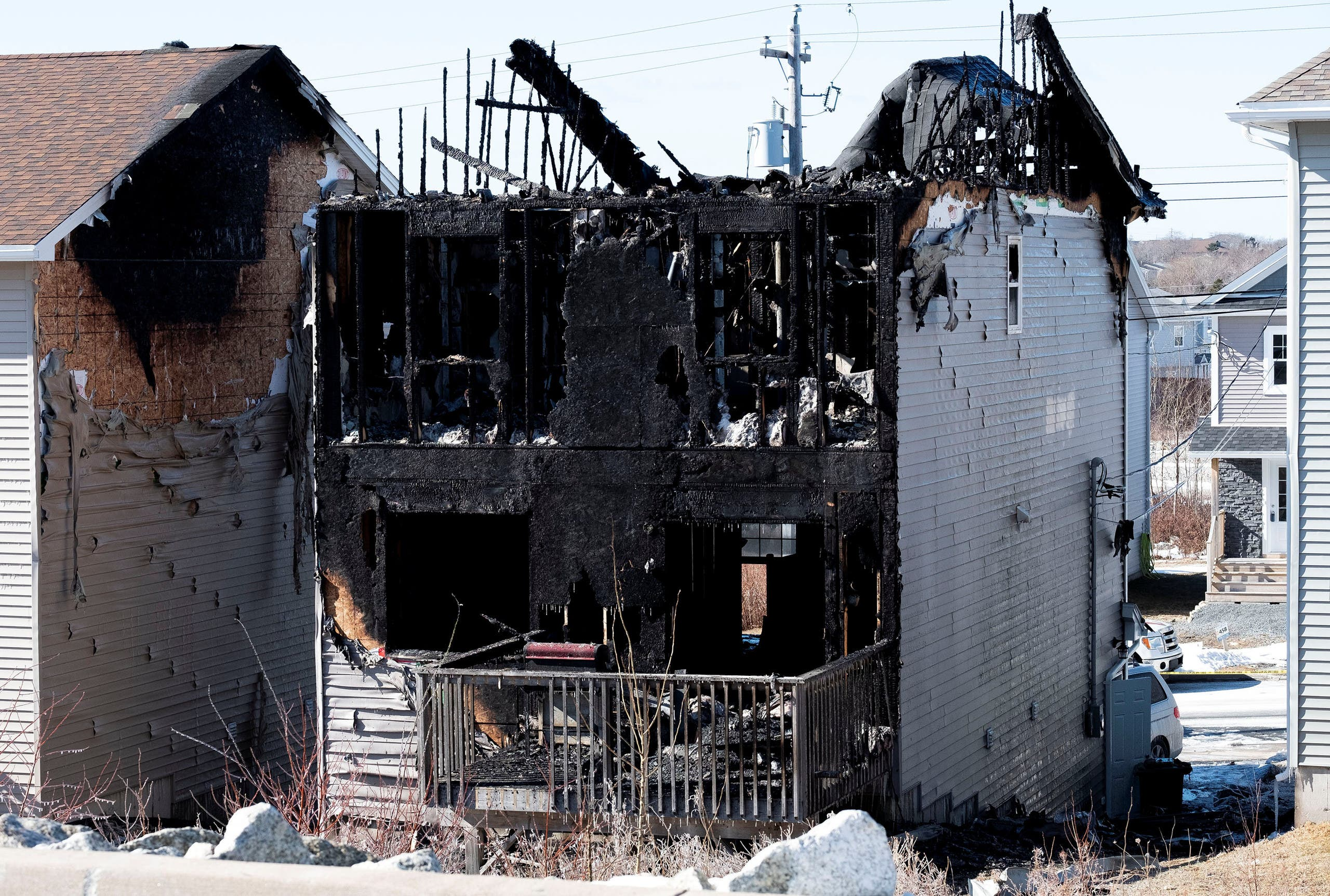 The burnt house where seven Syrian children from the same family died in Halifax, Canada. (Reuters)