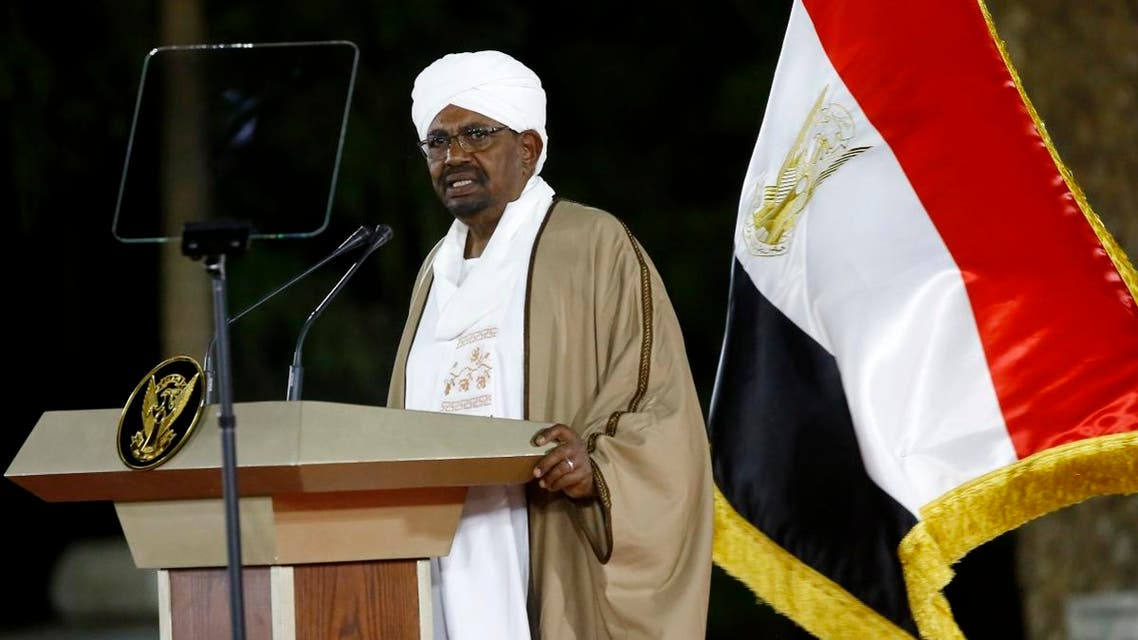 Sudanese President Omar al-Bashir delivers a speech to the nation on February 22, 2019, at the presidential palace in the capital Khartoum. (AFP)
