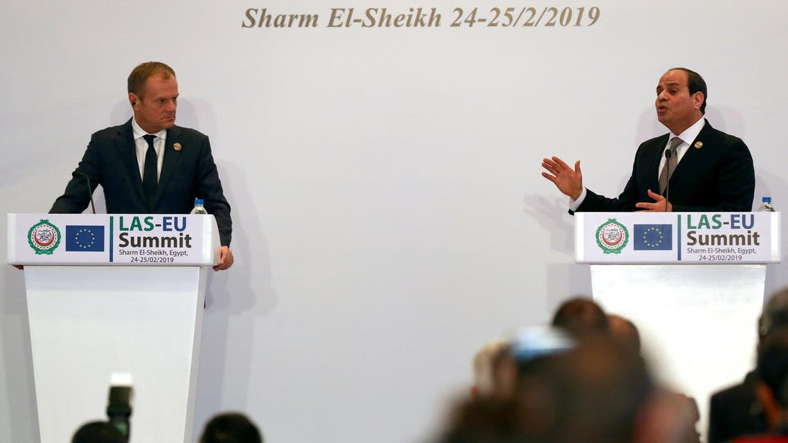 European Council President Donald Tusk and Abdel Fattah el-Sisi, President of Egypt, attend a news conference during a summit between Arab league and European Union member states, in the Red Sea resort of Sharm el-Sheikh, Egypt, February 25, 2019. REUTERS/Mohamed Abd El Ghany