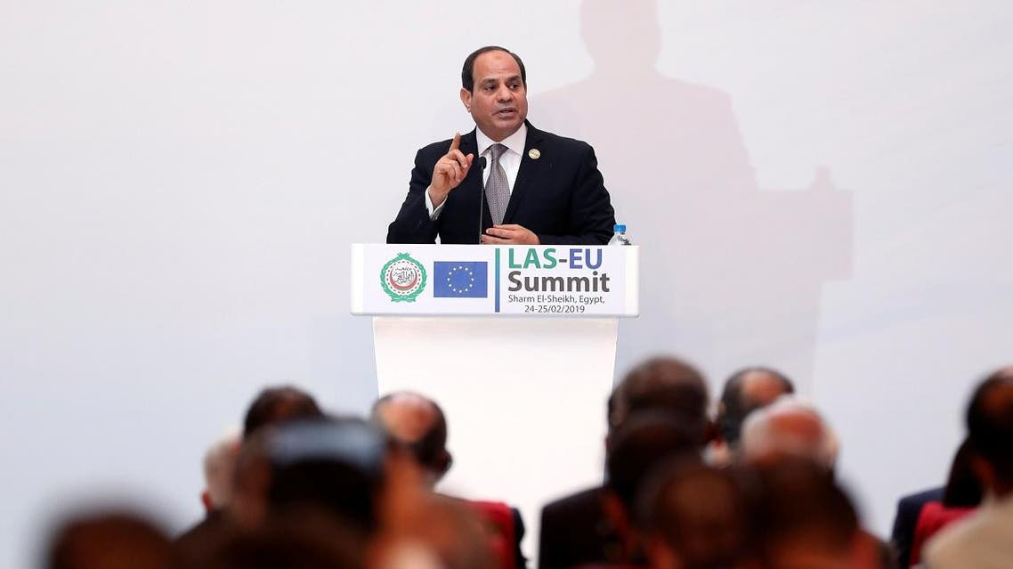 Abdel Fattah el-Sisi, President of Egypt, attends a news conference during a summit between Arab league and European Union member states, in the Red Sea resort of Sharm el-Sheikh. (Reuters)