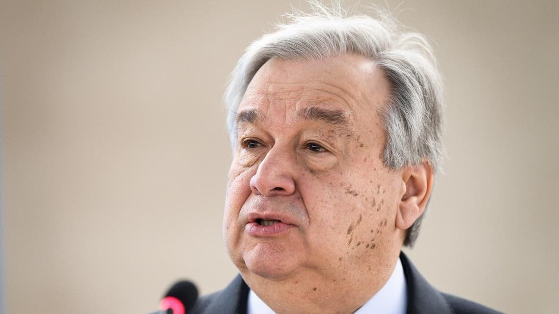 UN Secretary-General Antonio Guterres delivers a speech at the opening day of the 40th session of the United Nations (UN) Human Rights Council. (AFP)