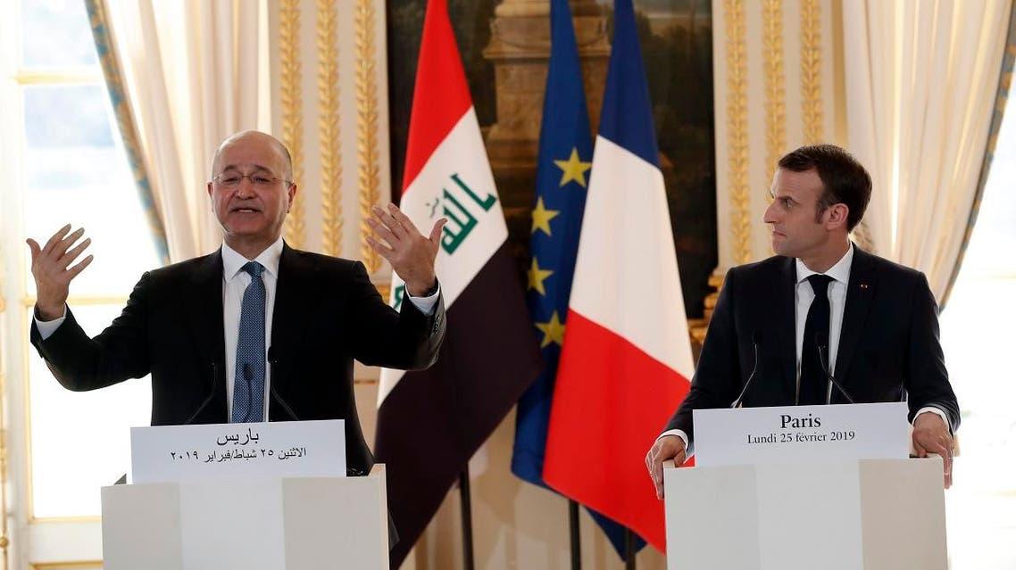 Emmanuel Macron and Barham Saleh in Paris (AFP)