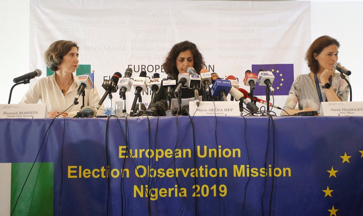 Maria Arena, the EU's chief observer and member of the European parliament, speaks during a news conference in Abuja, Nigeria, as the country awaits the result of the presidential election. (Reuters)