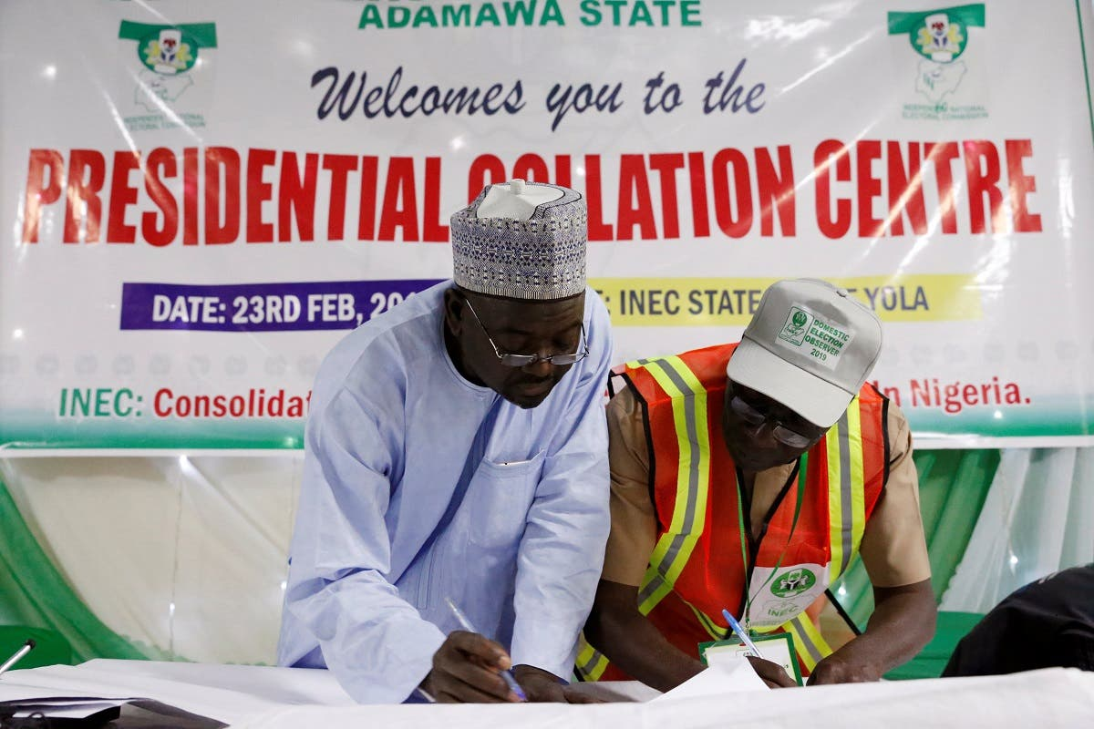 Election collation officers go over the declared figures before announcing the results of the presidential election at the State Office in Yola, in Adamawa State, Nigeria, on February 25, 2019. (Reuters)