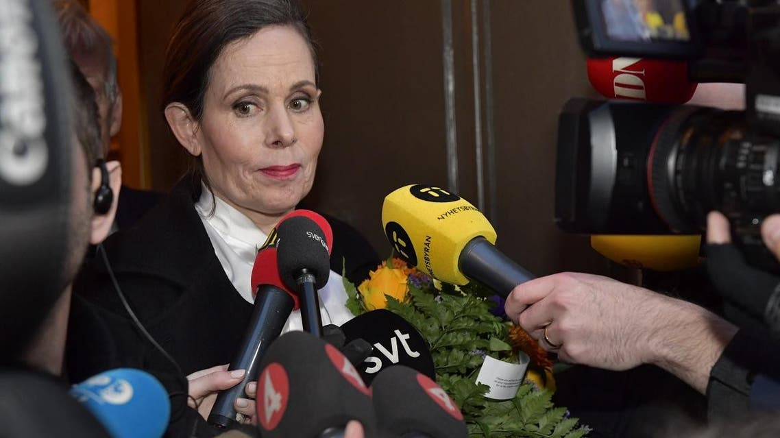 The Swedish Academy''s Permanent Secretary Sara Danius talks to journalists as she leaves a meeting at the Swedish Academy in Stockholm. (AFP)