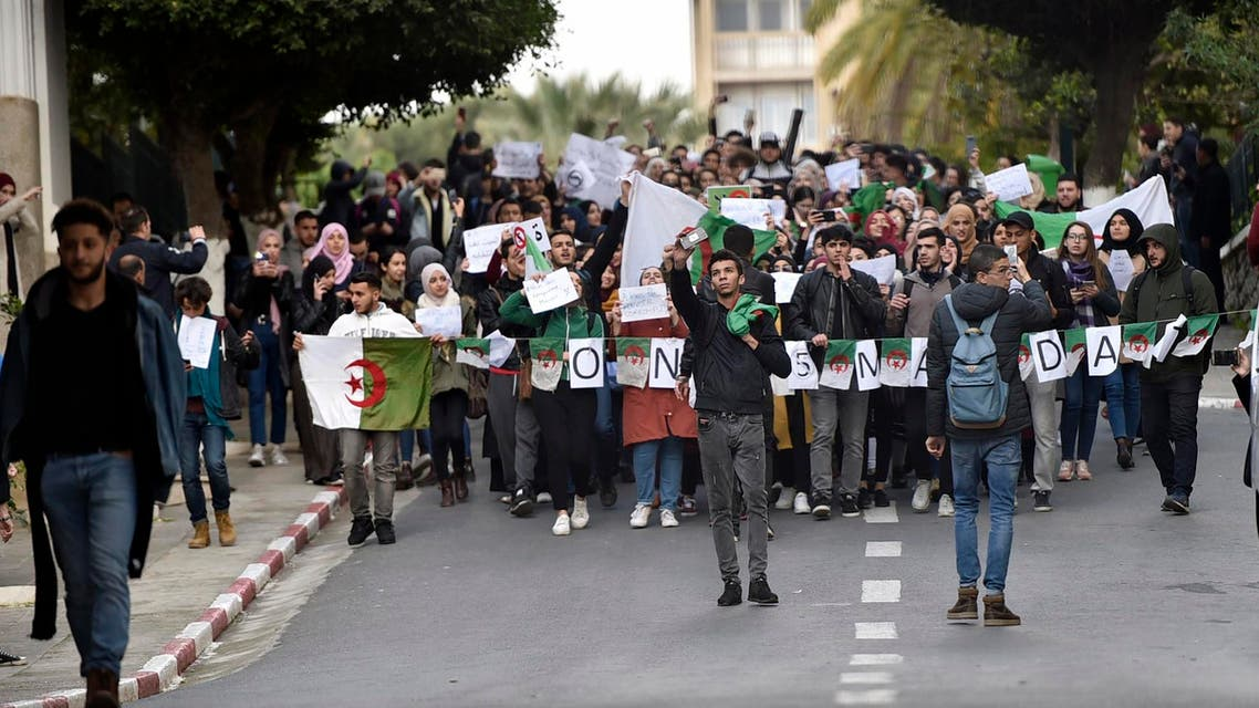 Algerian students protest on the main campus of the University of Algiers against ailing President Abdelaziz Bouteflika's bid for a fifth term, on February 26, 2019. (AFP)