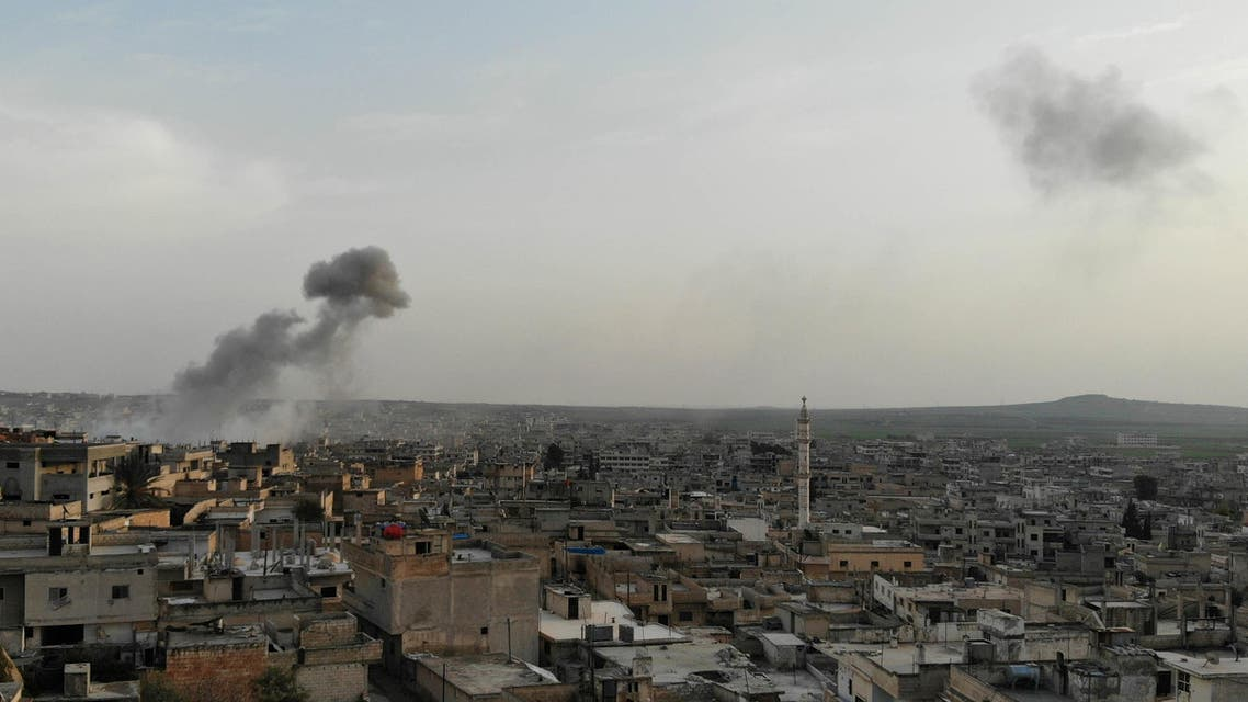 Smoke billows after reported strikes in the Syrian town of Khan Sheikhun in the southern countryside of the rebel-held Idlib province, on February 25, 2019.