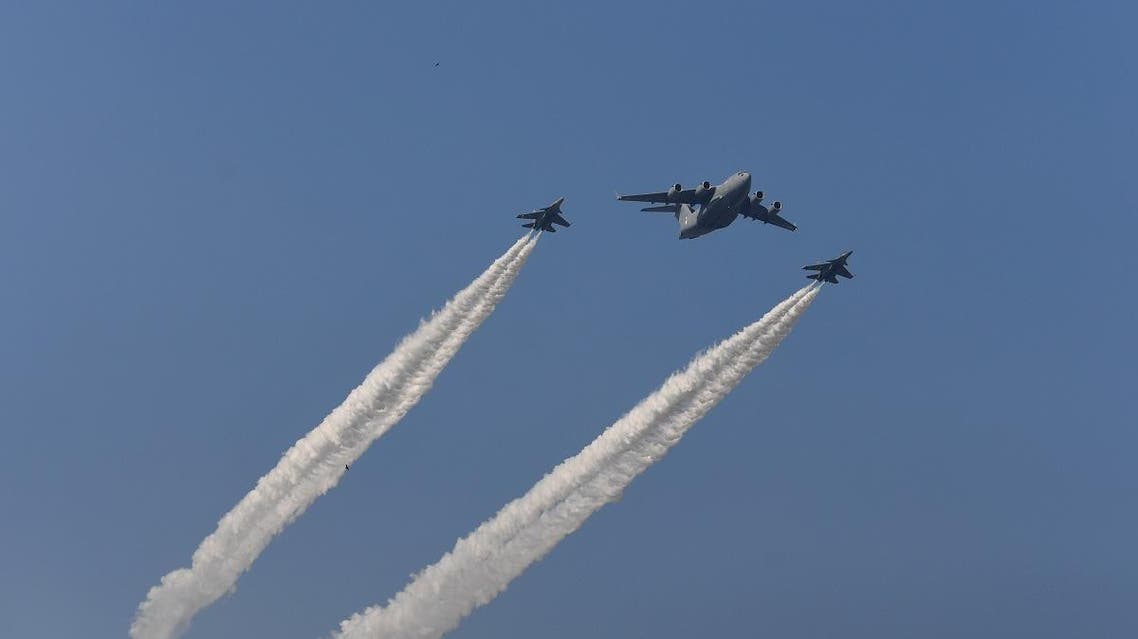 Indian fighter jets fly in formation with a C-17 Globemaster as they fly past during the Republic Day parade in New Delhi on January 26, 2019. India celebrated its 70th Republic Day. Money SHARMA / AFP