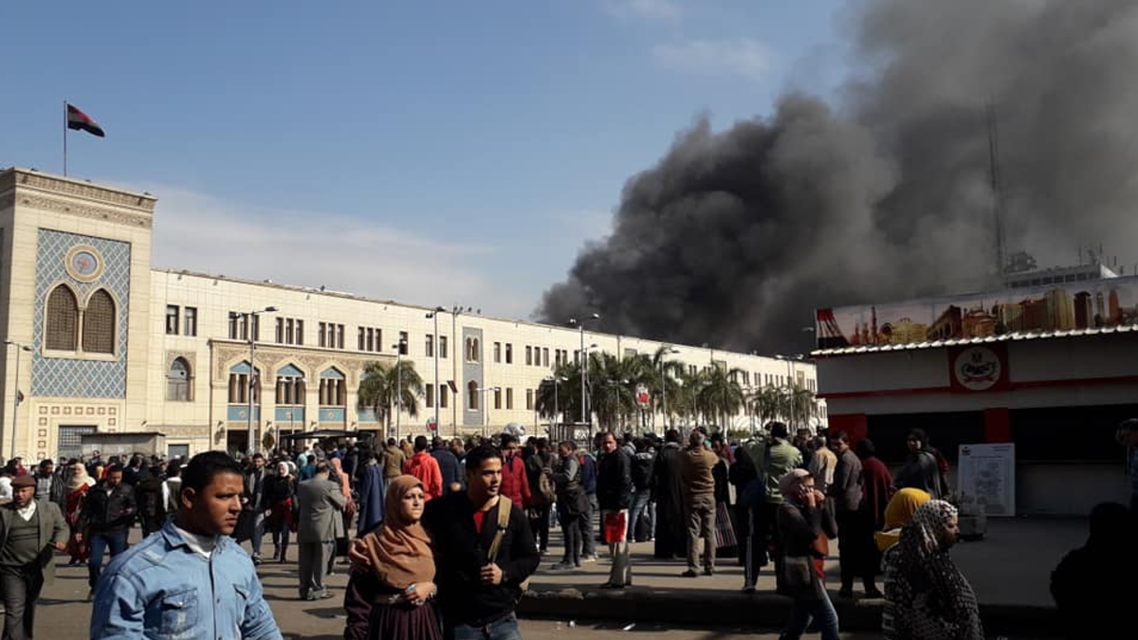 Cairo train station fire. (Twitter)