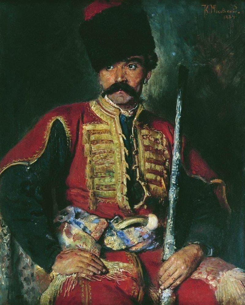 لوحة زيتية تجسد أحد جنود القوزاق الروس