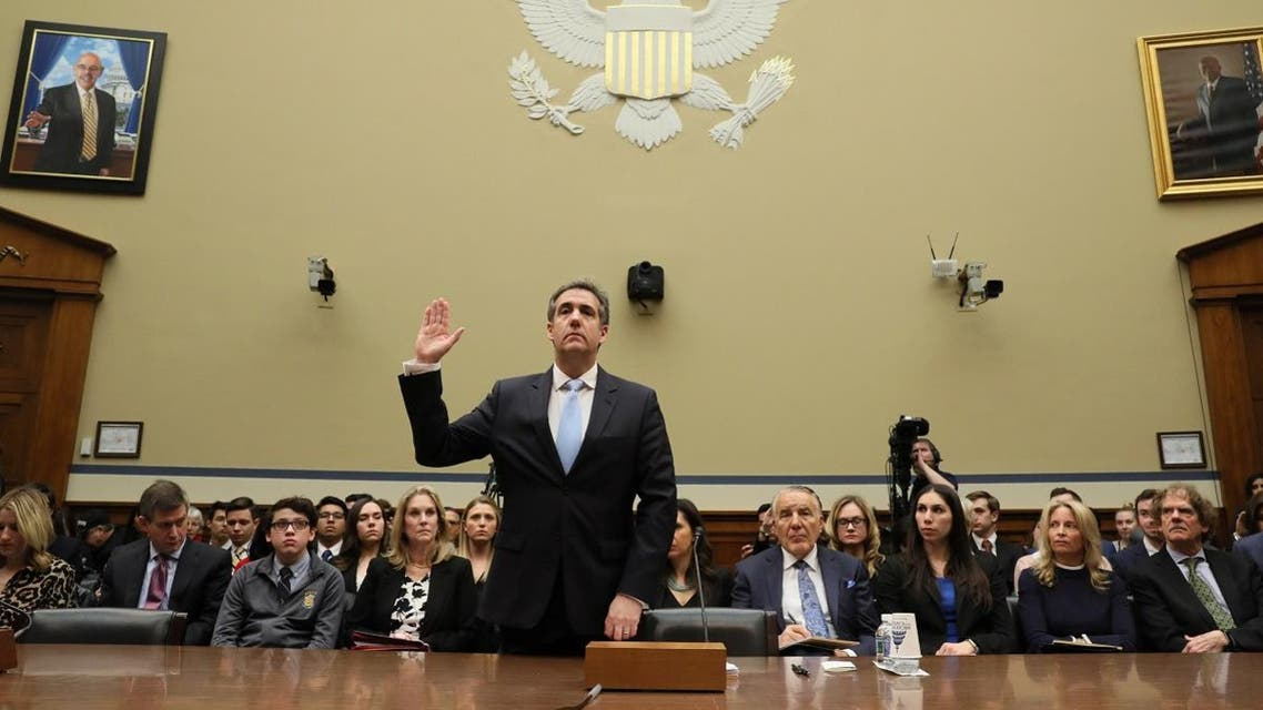 Former Trump personal attorney Cohen is sworn in to testify before House Oversight hearing on Capitol Hill in Washington. (Reuters)