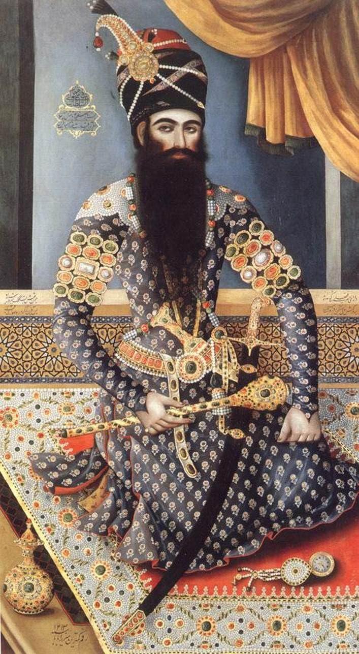صورة لثاني سلطان لبلاد فارس من السلالة القاجارية فتح علي شاه