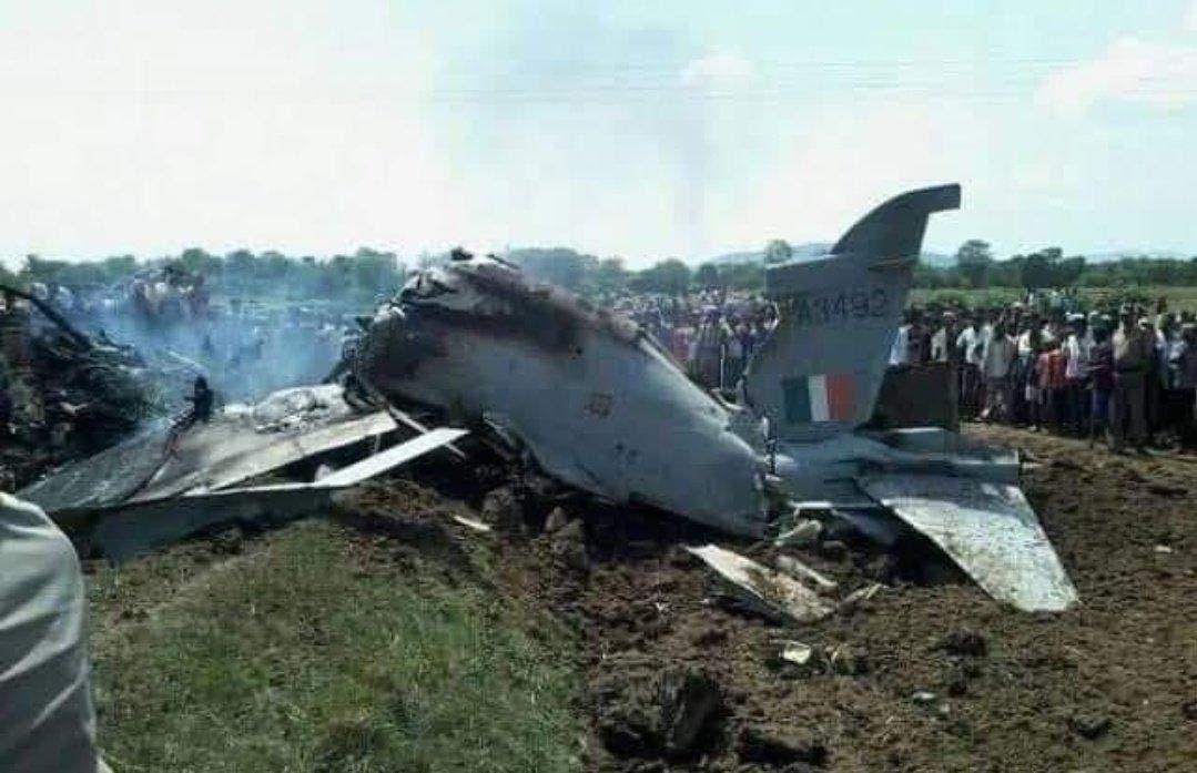 الطائرة الهندية محترقة