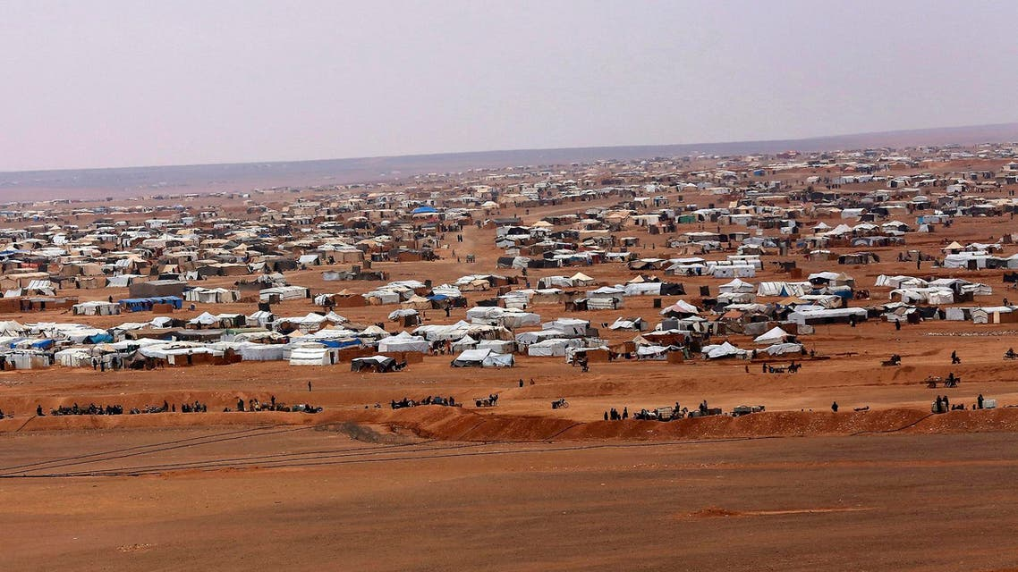 An overview of the Rukban camp, between Jordan and Syria's borders. (AP)