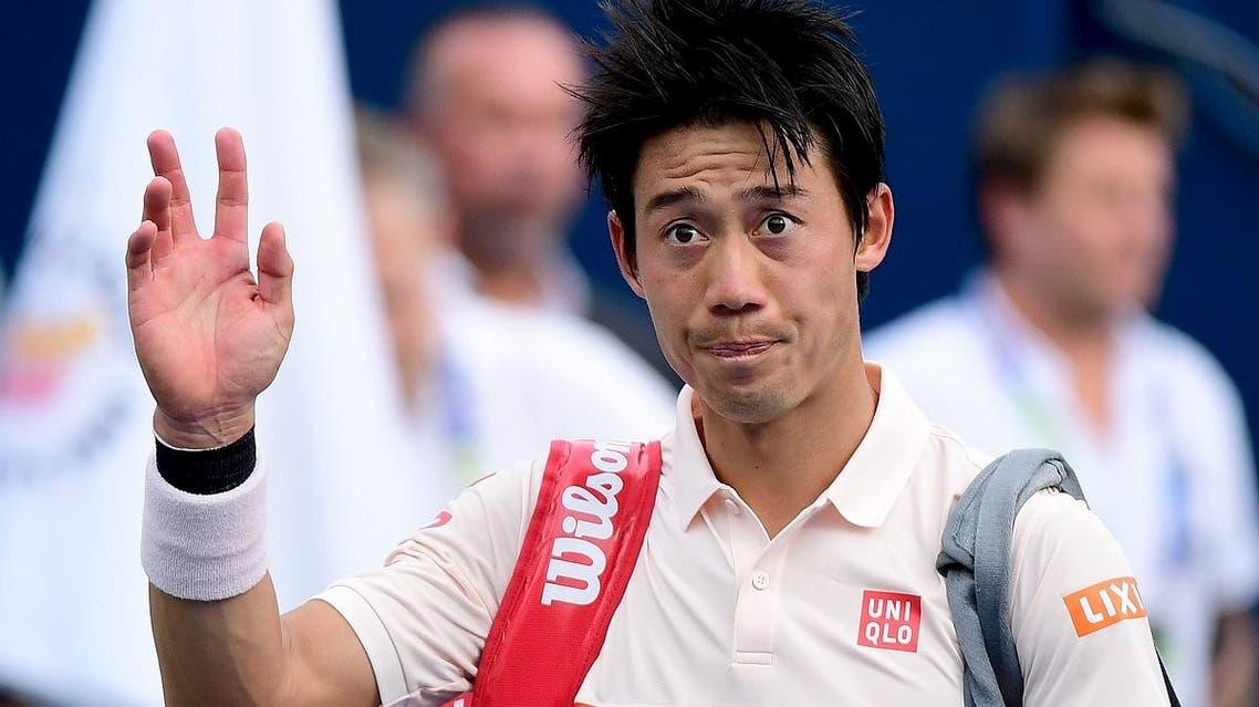 Kei Nishikori of Japan leaves after losing to Hubert Hurkacz of Poland during the ATP Dubai Duty Free Tennis Championship in the Dubai on February 27, 2019. (AFP)