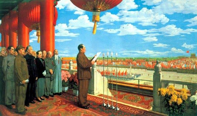 لوحة تجسد الزعيم الصيني ماو تسي تونغ خلال إلقائه لخطاب