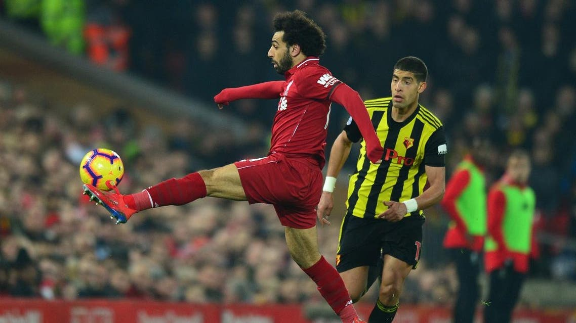 Liverpool's Egyptian midfielder Mohamed Salah controls the ball during the football match against Watford at Anfield, on Feb. 27, 2019. (AFP)