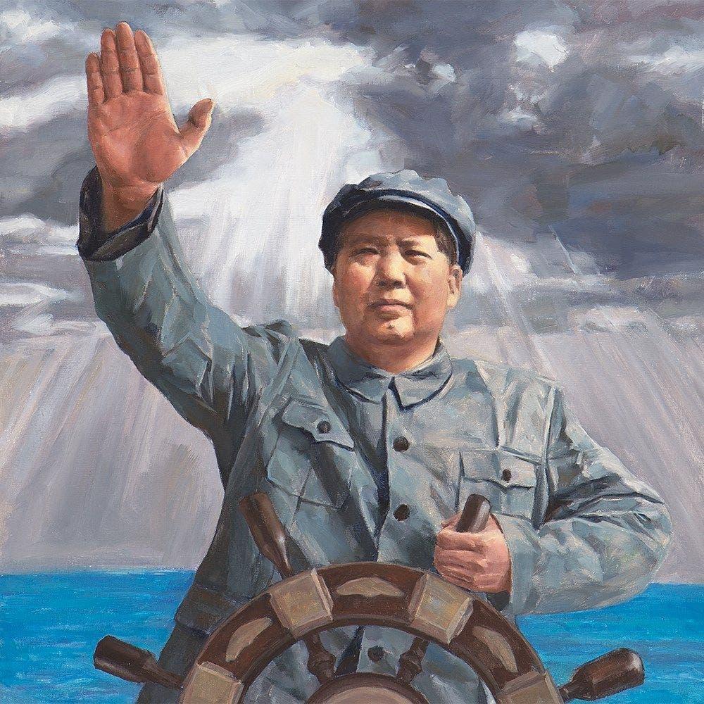 لوحة زيتية دعائية تجسد الزعيم الصيني ماو تسي تونغ وهو يقود البلاد