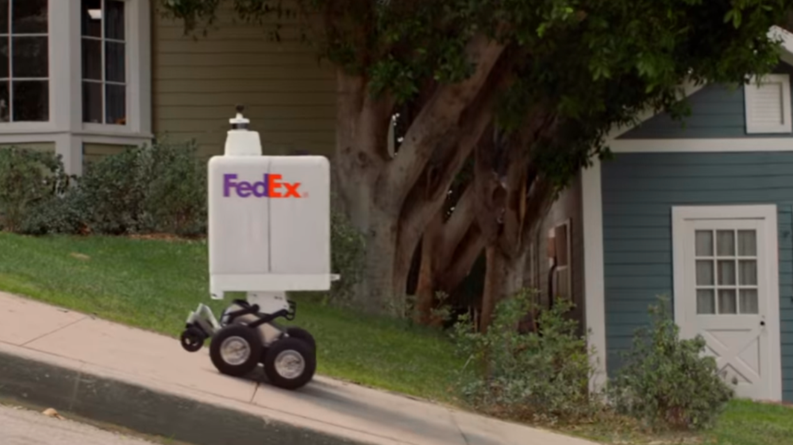 FedEx robotic delivery carts are reminiscent of a large canister with wheels. (Screengrab: YouTube)