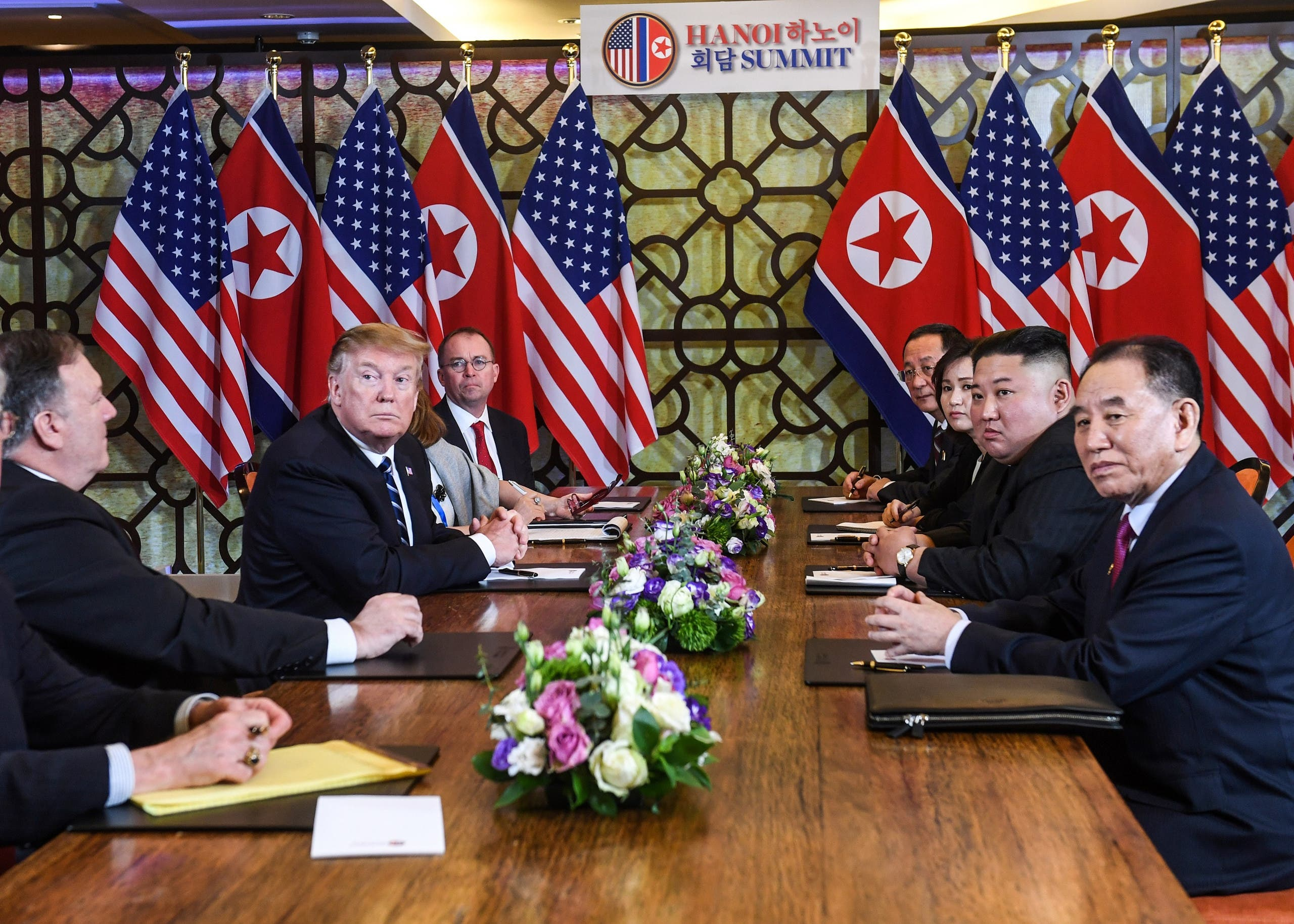 President Trump and Kim Jong Un in Hanoi on February 28, 2019. (AFP)