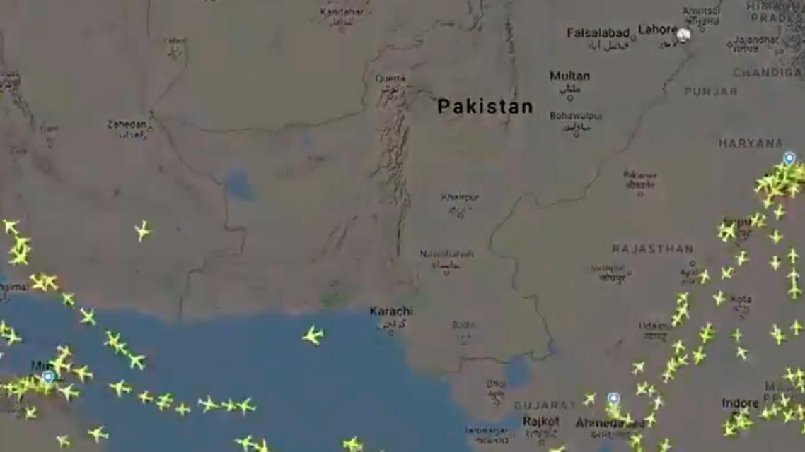 Pakistan airspace (Screengrab: Twitter)