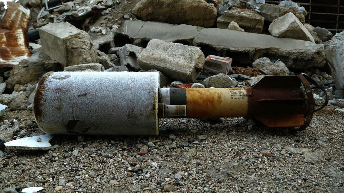 A close up shot shows an empty rocket reportedly fired by regime forces on Douma. (File photo: AFP)