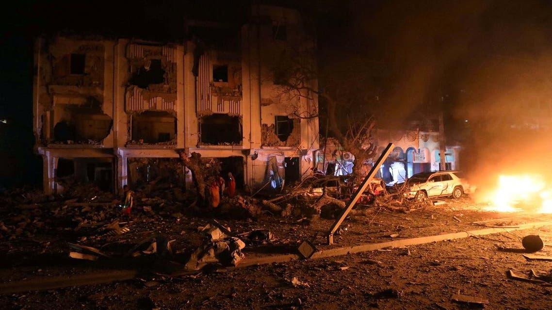 Flames are burning at the scene where a suicide car bomb exploded targeting a hotel in a business center in Maka Al Mukaram street in Mogadishu on February 28, 2019. (Reuters)