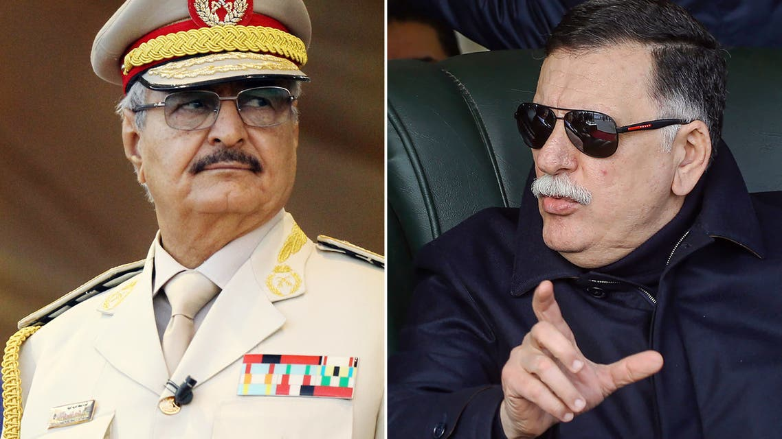 This composition of file pictures shows Libya's unity government Prime Minister Fayez al-Sarraj (R) during a graduation ceremony for new coastguard cadets in Tripoli on January 3, 2019 and Libyan Strongman Khalifa Haftar, who heads the rival government that operates from the eastern Libyan city of Bayda, at a military parade in Benghazi on May 7, 2018. The head of Libya's internationally recognised government and the military strongman who backs a rival administration in the country's east have met in the Emirati capital