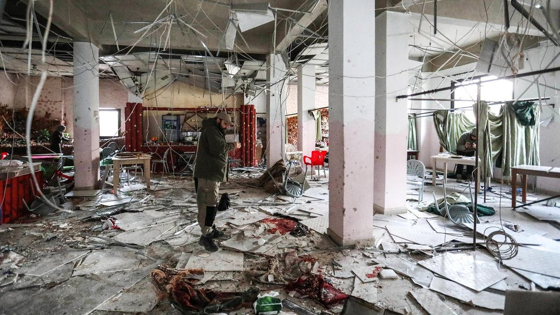 A destructed restaurant in Idlib following a suicide attack in the rebel-held northern Syrian city on March 1, 2019. (AFP)