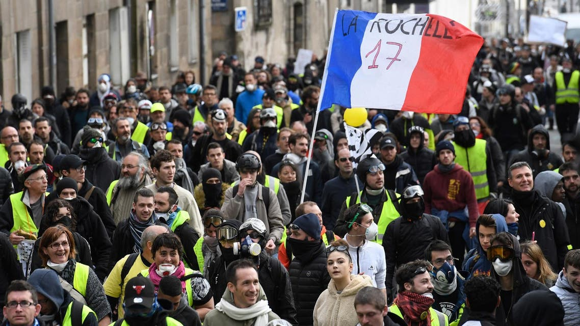 """Yellow Vests"" protesters take part in an anti-government demonstration on March 2, 2019 in Nantes, western France. (AFP)"