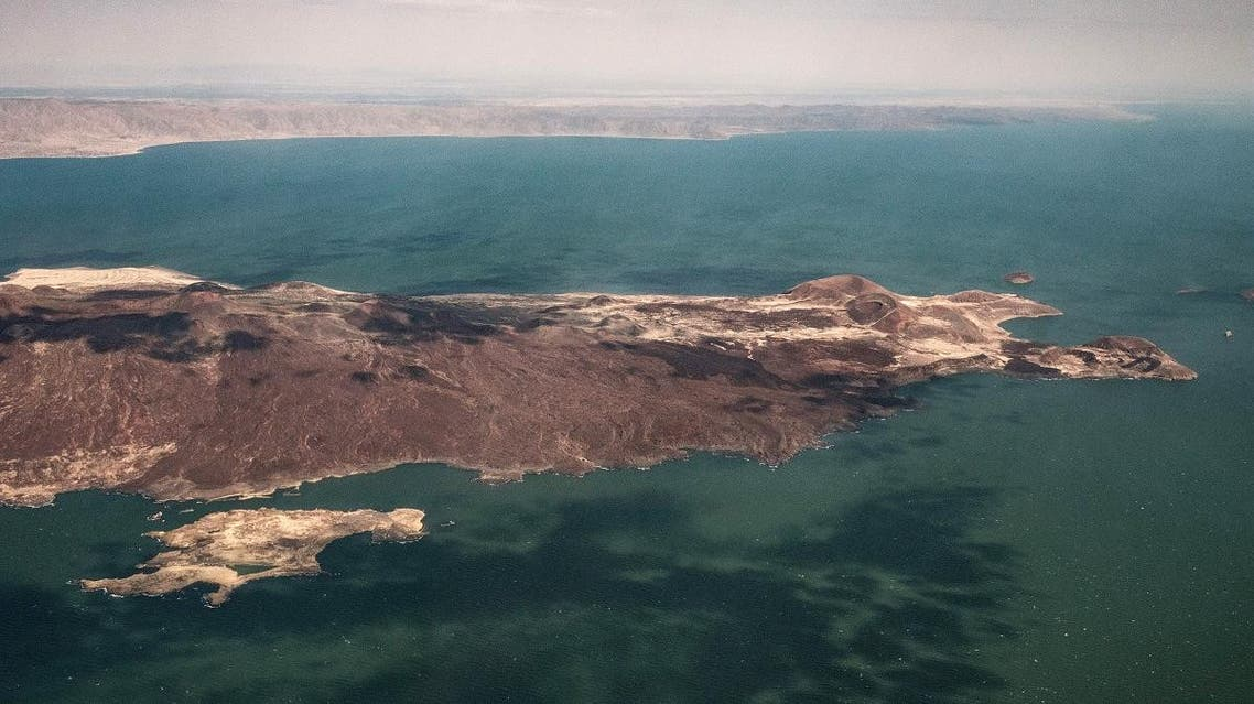 An aerial image taken on June 30, 2018 shows a part of Turkana South Island in Lake Turkana, the world's largest desert lake, in northern Kenya. (AFP)
