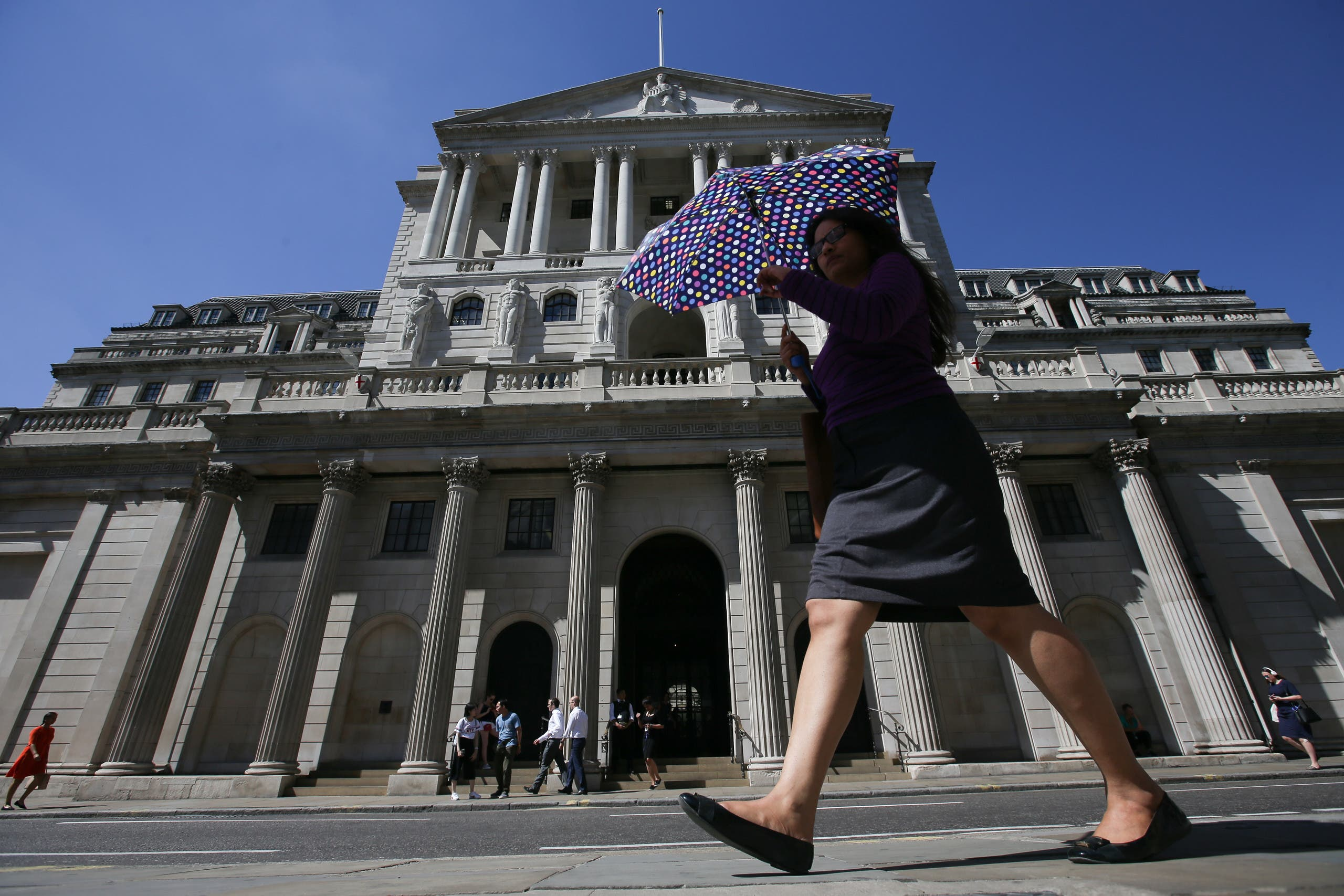 File photo of Bank of England (BoE)  in the City of London. Much of the British economy has been mothballed over the past couple of months, with many sectors unlikely to open again for months. (AFP)