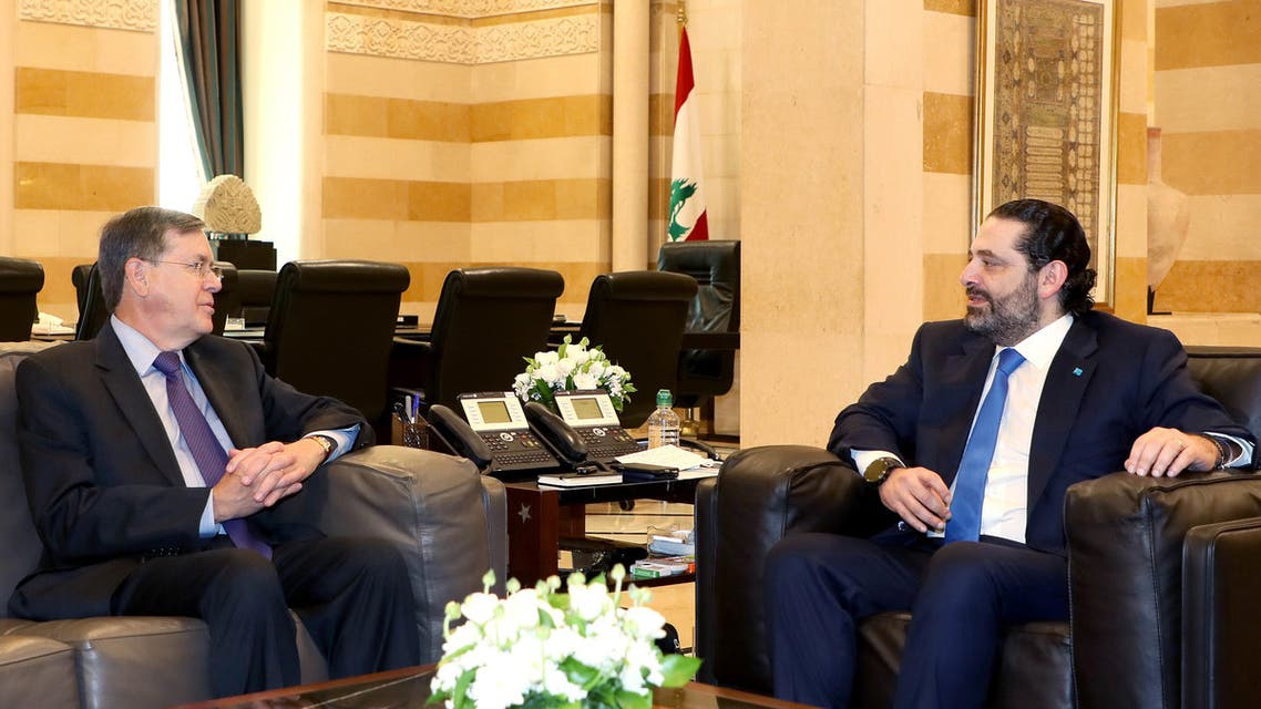 A handout picture provided by the Lebanese photo agency Dalati and Nohra on March 5, 2019, shows Lebanese Prime Minister Saad Hariri (R) meeting with US Under Secretary of Foreign Affairs David Satterfield in Beirut.