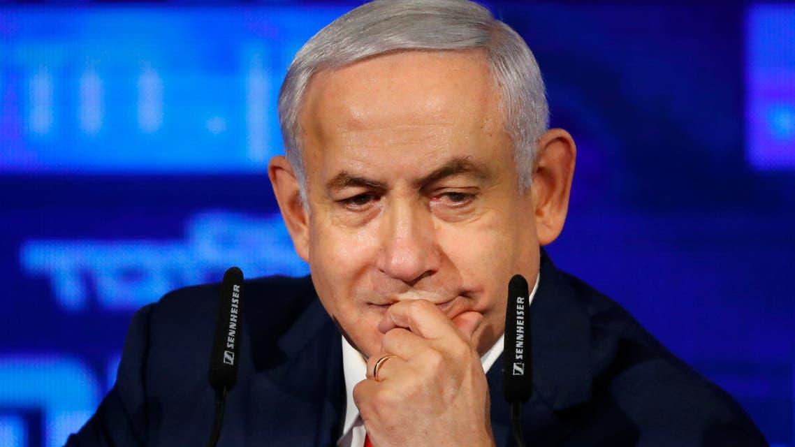 NETANYAHU نتنياهو خلال إطلاق حملته الانتخابية