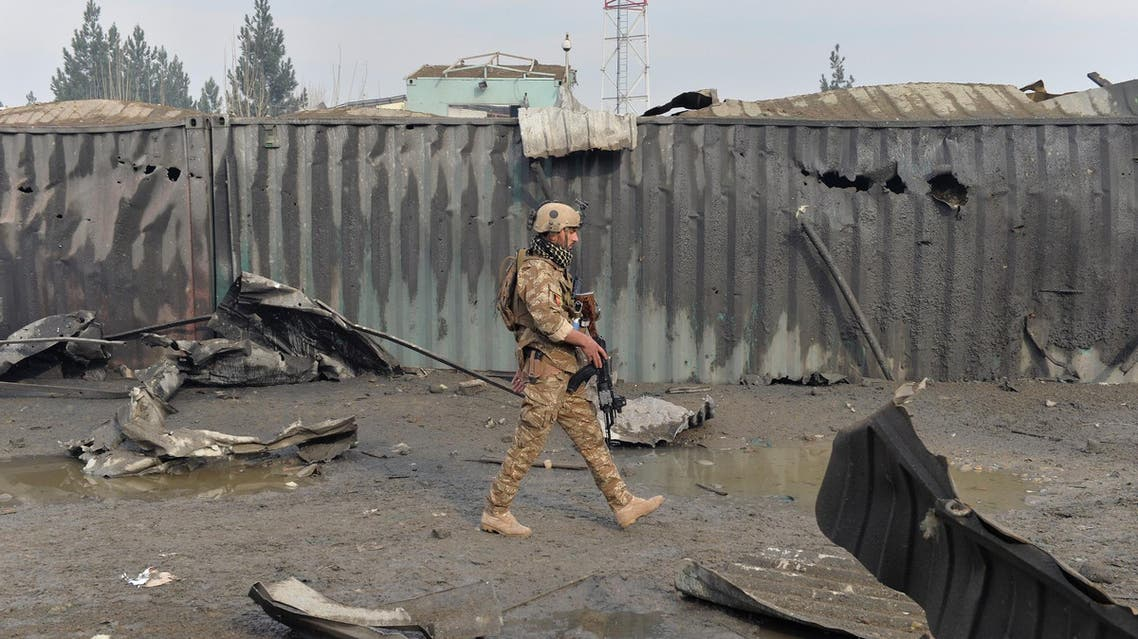 A member of the Afghan security forces walks at the site of a suicide bomb attack in Kabul on November 29, 2018. (File photo: AFP)