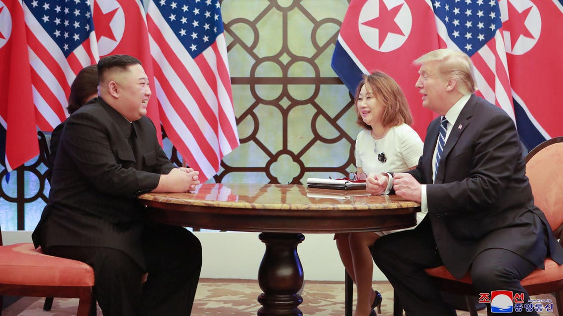 North Korea's leader Kim Jong Un and U.S. President Donald Trump talk during the second North Korea-U.S. summit in Hanoi, Vietnam, in this photo released on March 1, 2019 by North Korea's Korean Central News Agency (KCNA). KCNA via REUTERS ATTENTION EDITORS - THIS IMAGE WAS PROVIDED BY A THIRD PARTY. REUTERS IS UNABLE TO INDEPENDENTLY VERIFY THIS IMAGE. NO THIRD PARTY SALES. SOUTH KOREA OUT. NO COMMERCIAL OR EDITORIAL SALES IN SOUTH KOREA.