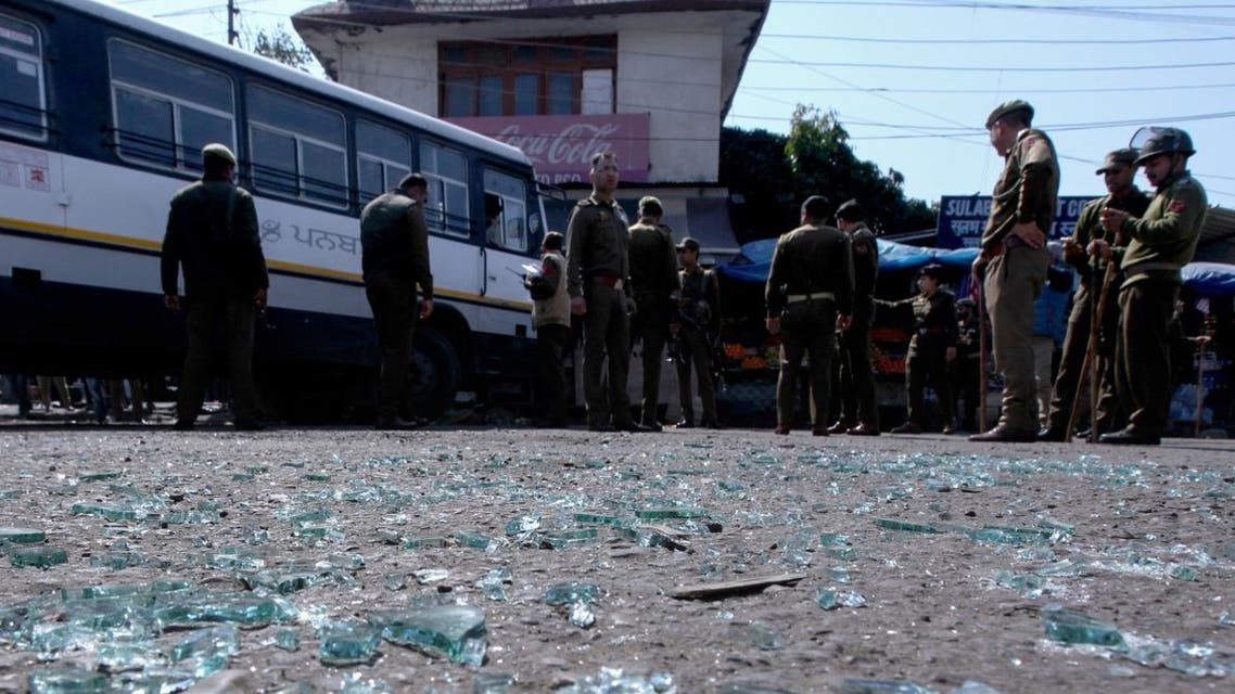 Indian police inspect the site of a grenade blast at a bus station in Jammu on March 7, 2019. (AFP)