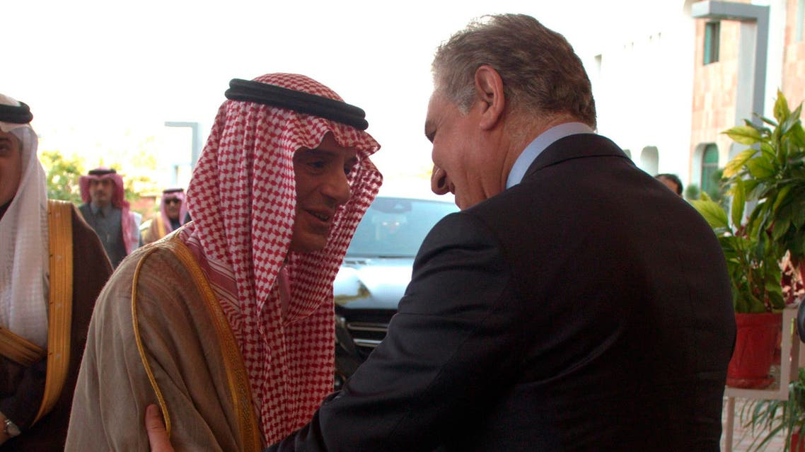 Pakistani Foreign Minister Shah Mahmood Qureshi, right, receives Adel Al-Jubeir in Islamabad on March 7, 2019. (Pakistan Foreign Office, via AP)