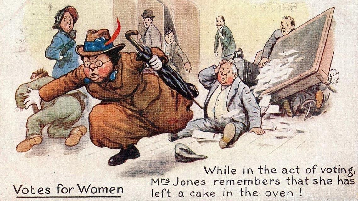 كاريكاتير ساخر ضد حق المرأة في التصويت بالقرن الماضي