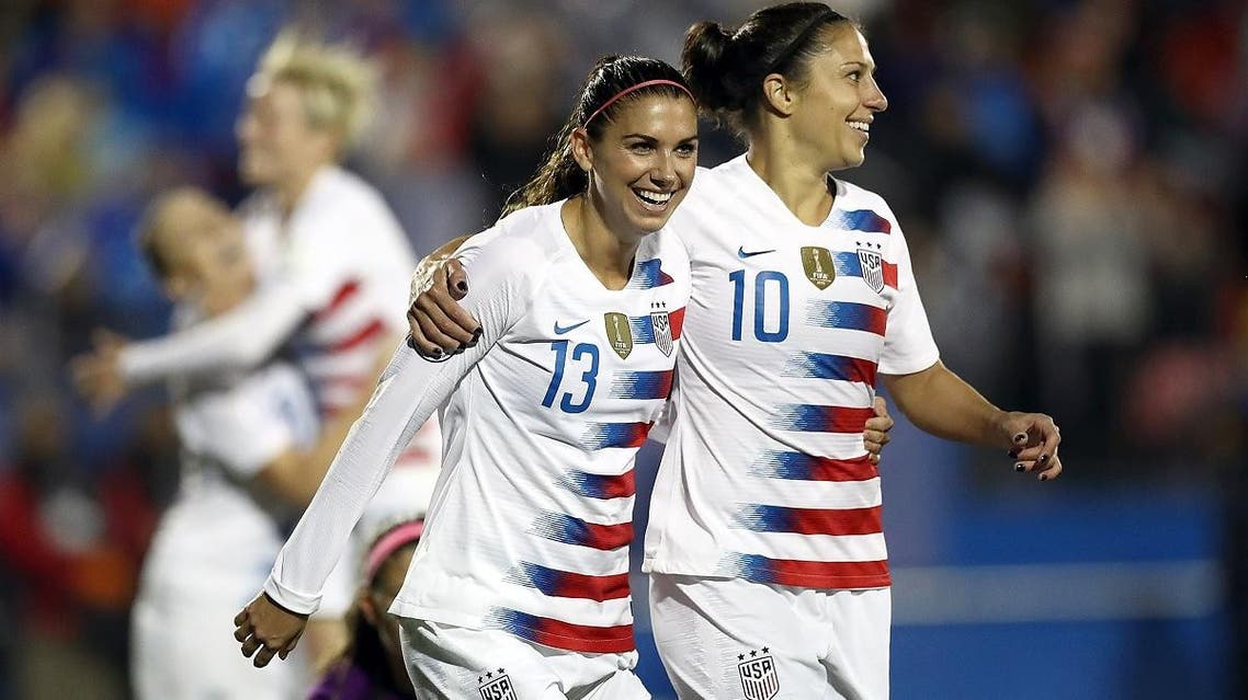 Alex Morgan and Carli Lloyd  of the United States during the CONCACAF Women's Championship final match in Frisco, Texas. (AFP)