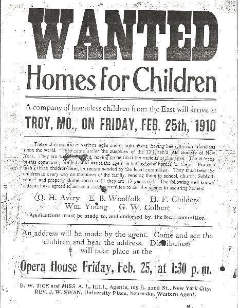 صورة لإعلان من أجل عرض أطفال يتامى للتبني سنة 1910